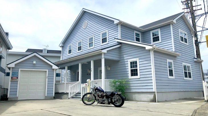 実例-バイクガレージ付アメリカンハウス-